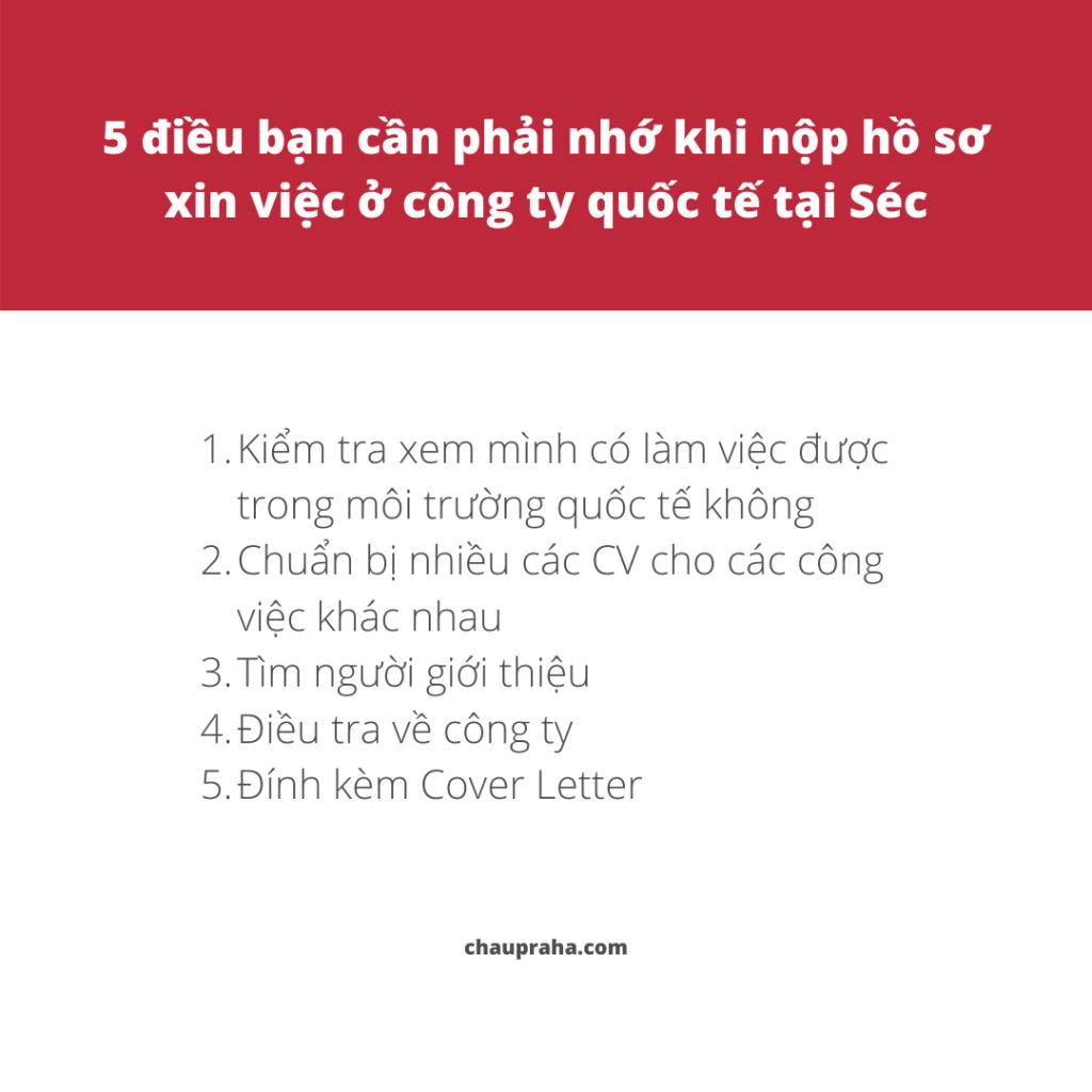 5 điều bạn phải nhớ khi gửi hồ sơ xin việc ở Séc